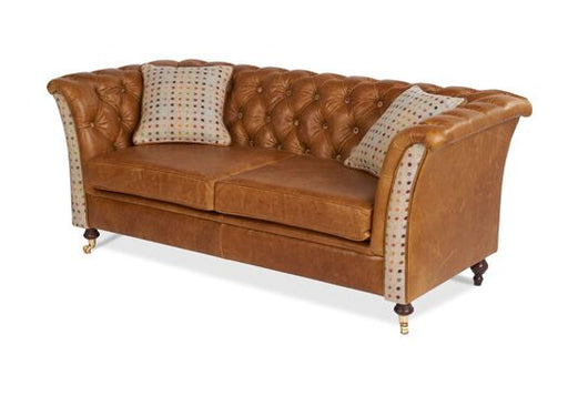 Caesar 2-Seater Italian Leather Brown Cerrato Chesterfield With Multi-Spot Natural Front