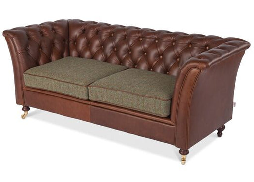 Caesar 2-Seater Italian Leather Brown Ingrassato Chesterfield With Gamekeeper Spruce Cushions