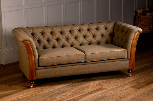 Caesar 2-Seater Moon Wool Glamis Opal Chesterfield With Brown Cerrato Front And Piping