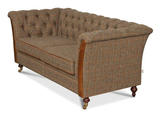 Caesar 2-Seater Harris Tweed Gamekeeper Thorn Chesterfield With Brown Cerrato Front And Piping