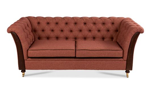 Caesar 2-Seater Moon Wool Parquet Rhubarb Chesterfield With Bartollo Front And Piping