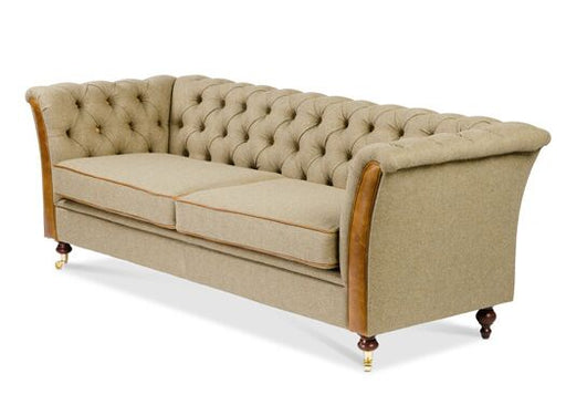 Caesar 3-Seater Moon Wool Traditional Camel Chesterfield With Brown Cerrato Front And Piping