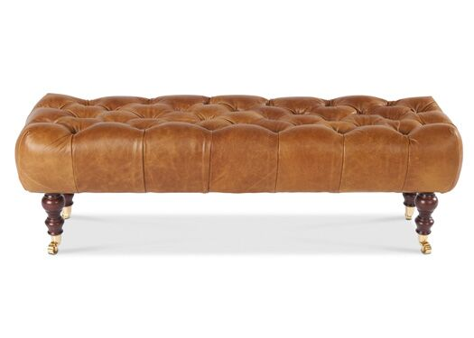 Caesar Italian Leather Brown Cerrato Bench - IN STOCK