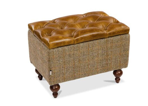 Caesar Italian Leather Harris Tweed Gamekeeper Thorn Footstool With Brown Cerrato Lid
