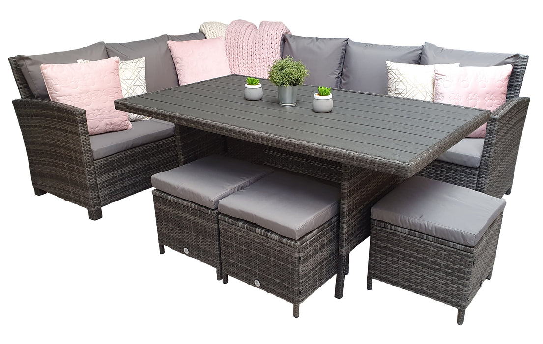 Charlotte Corner Sofa Dining Set with Polywood Table Top in Grey - SOLD OUT