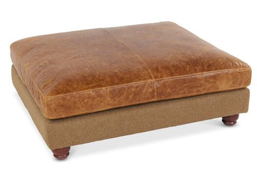Dalton 3-Seater Moon Wool Italian Leather Traditional Camel With Brown Cerrato Large Footstool