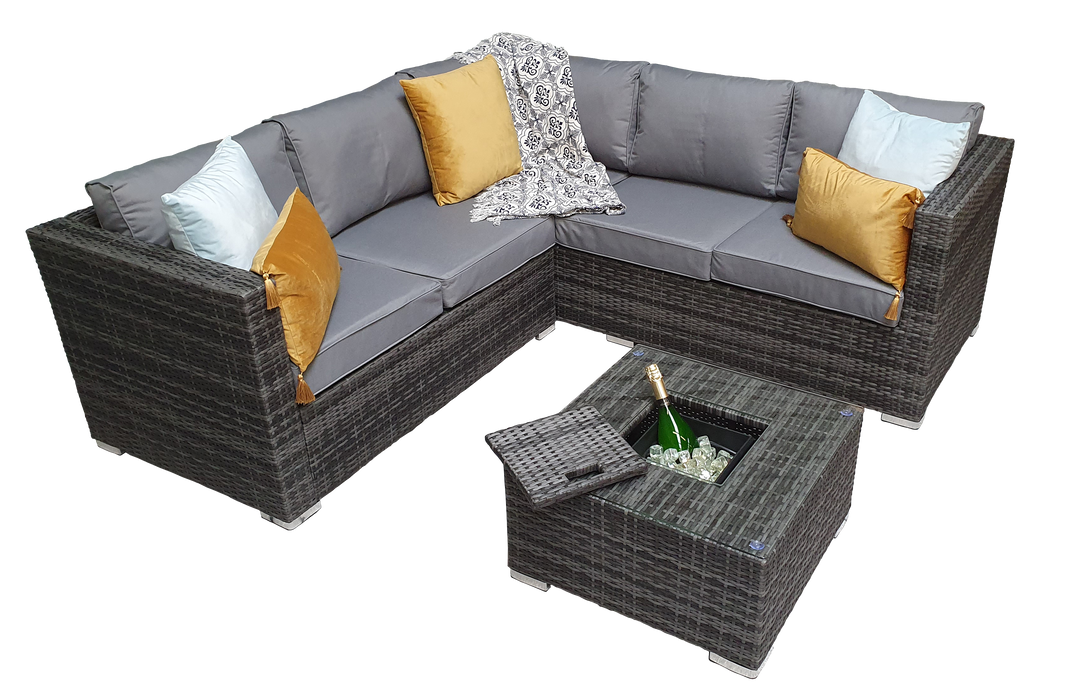 Georgia Corner Group Sofa Set with ICE BUCKET in Grey - IN STOCK