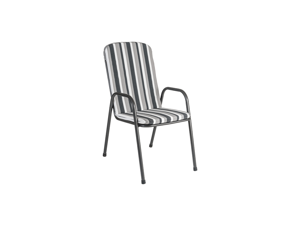 Portofino High Back Armchair Cushion Charcoal Stripe