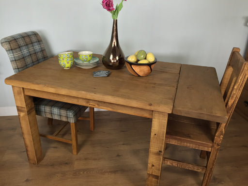 The Artisan Waxed Plank Extending Dining Table with Leaf