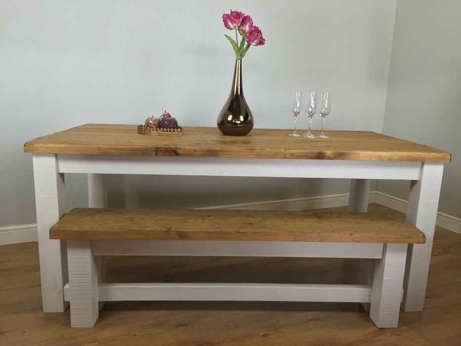 The Artisan White Painted Plank Dining Table with Bench