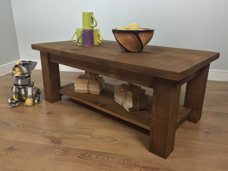 The Authentic Waxed Coffee Table with Shelf