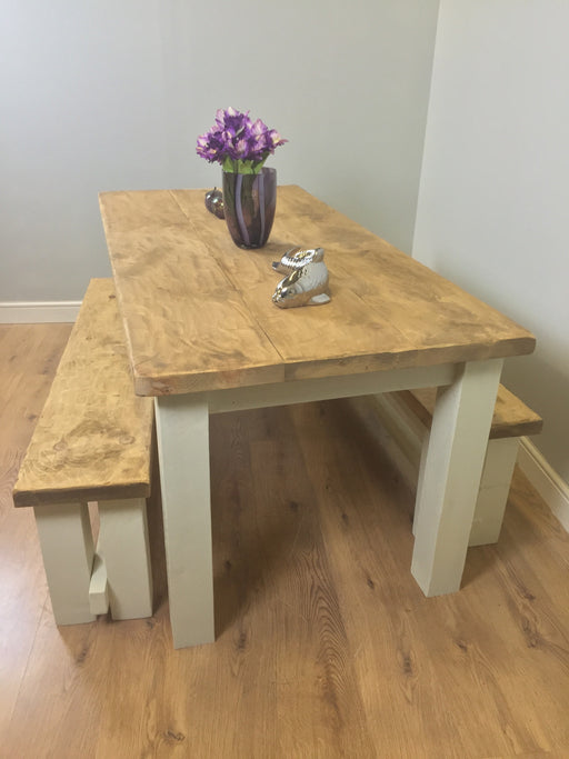 The Artisan Cream Painted Plank Dining Table with Benches