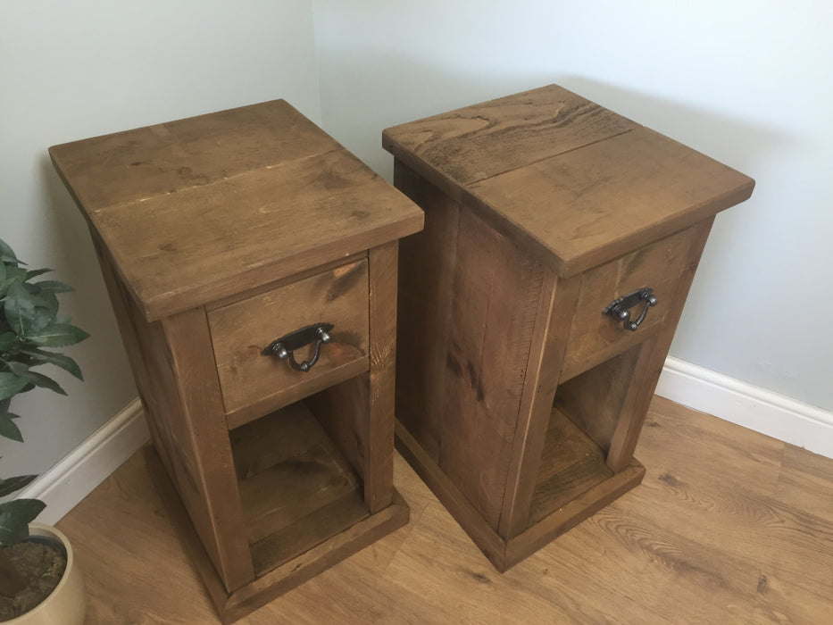 The Authentic Waxed Tall Single Drawer Open Bedside Table