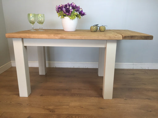 The Artisan White Painted Plank Dining Table with Leaf