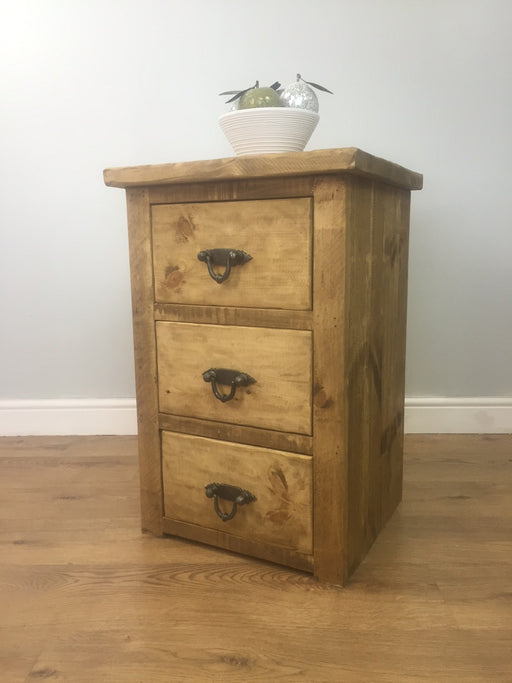 The Artisan Waxed Three-Drawer Bedside Table