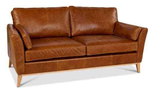 Maxwell 3-Seater Italian Leather Brown Cerrato Sofa