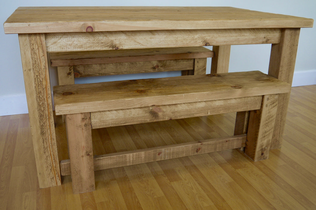 The Artisan Waxed Plank Dining Table with Benches