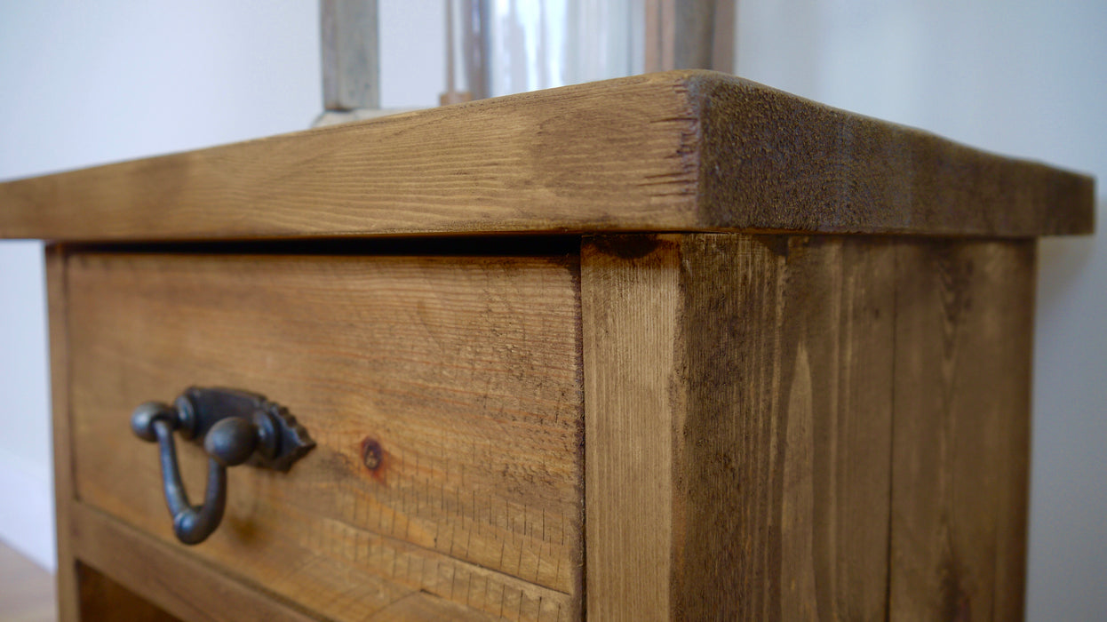 The Authentic Waxed Single Drawer Open Bedside Table