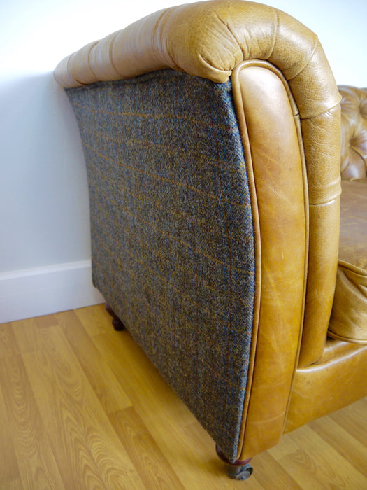 Caesar 2-Seater Harris Tweed in Italian Leather Brown Cerato Front And Harris Tweed Uist Night FAST TRACK DELIVERY