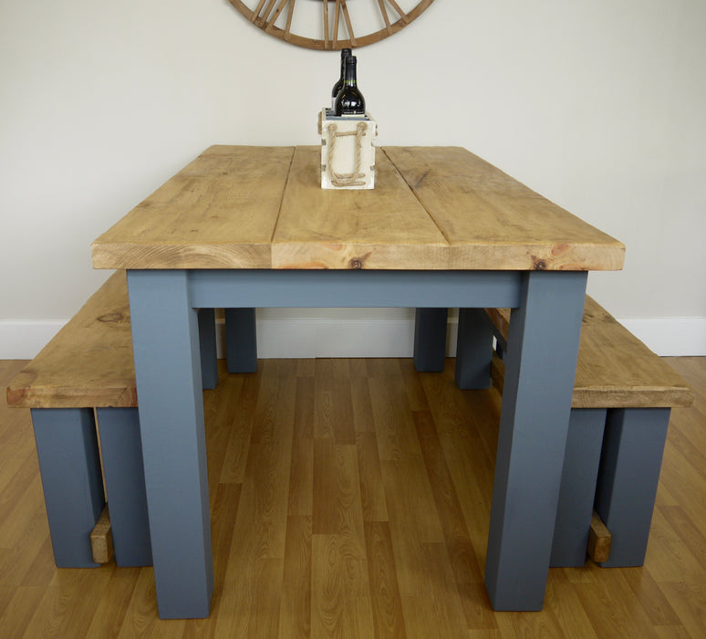 The Artisan Military Grey Painted Plank Dining Table With Benches