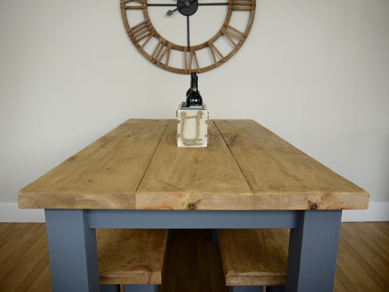 The Artisan Military Grey Painted Plank Dining Table