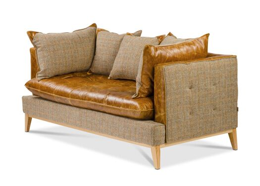 Portland 2-Seater Harris Tweed And Italian Leather Gamekeeper Thorn With  Brown Cerrato Seat