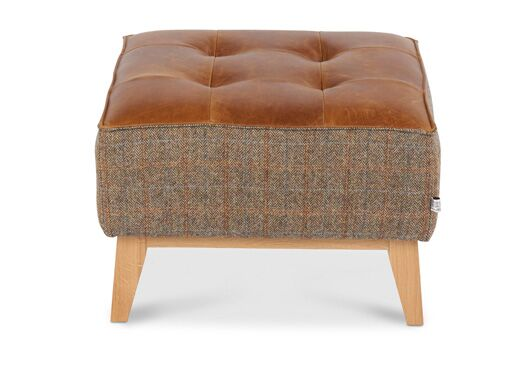 Portland Harris Tweed And Italian Leather Gamekeeper Thorn With Brown Cerrato Top Footstool