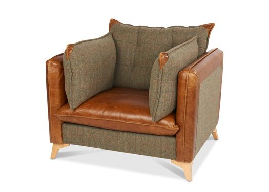 Regal 1-Seater Harris Tweed And Italian Leather Gamekeeper Spruce With Brown Ingrassato Seat And Edges
