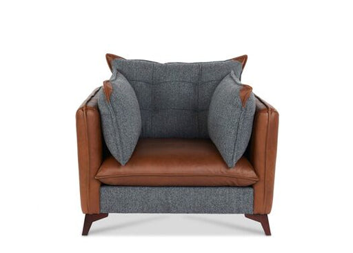Regal 1-Seater Harris Tweed And Italian Leather Vintage Flint With Brown Ingrassato Seat And Edges