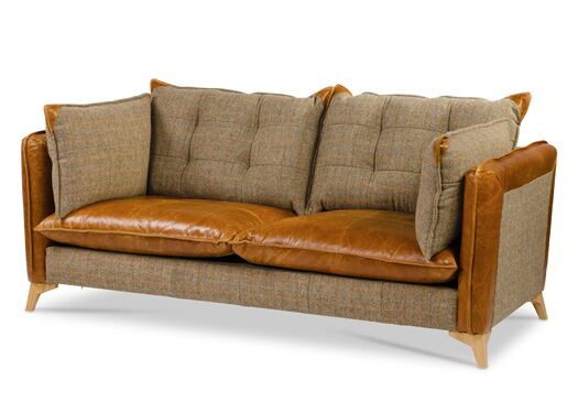 Regal 2-Seater Harris Tweed And Italian Leather Gamekeeper Spruce With Tan Cerrato Seat And Edges