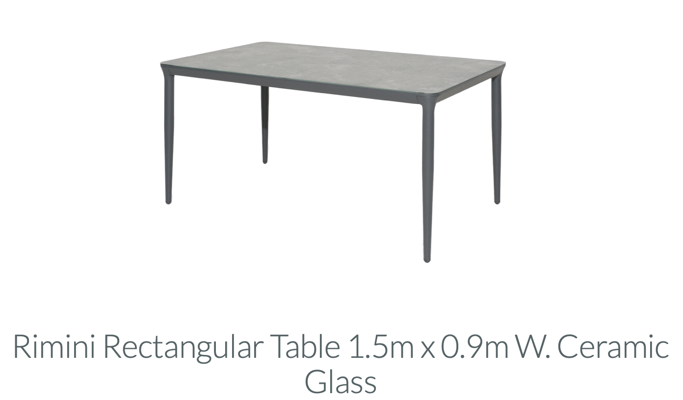 Rimini - Rectangle Table 1500mm x 900mm with Ceramic Glass
