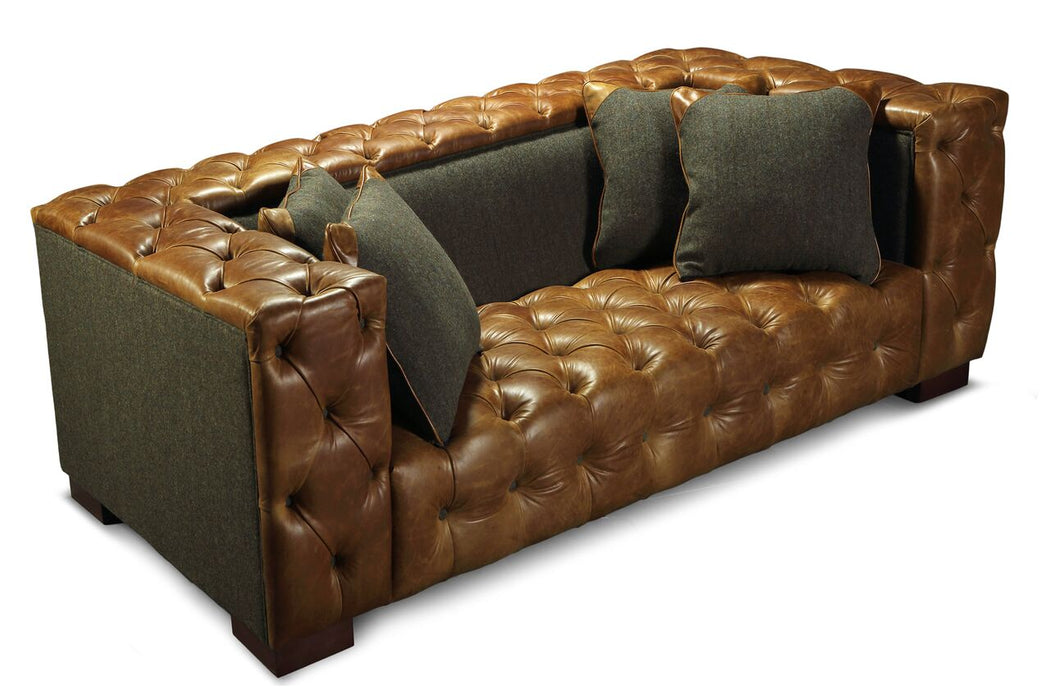 Titan Harris Tweed Italian Leather Grey/Brown Cerrato Sofa