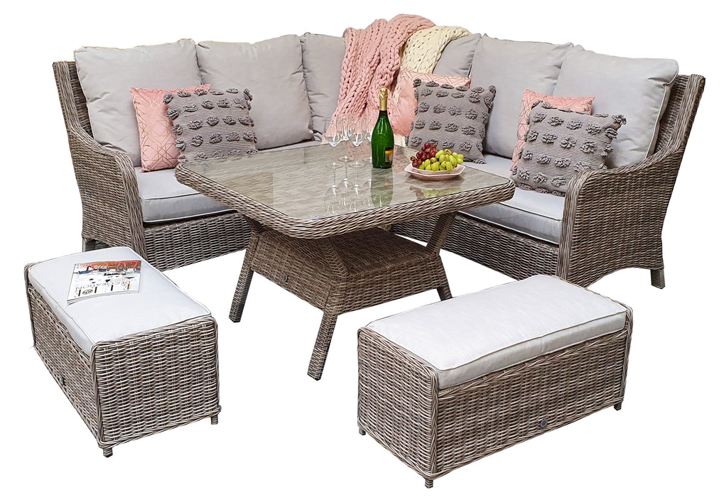 Alexandra Corner Sofa And Dining Set in Grey - SOLD OUT