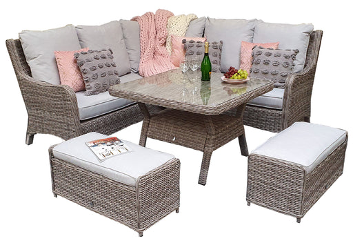 Alexandra Corner Sofa And Dining Set in Grey - IN STOCK and READY FOR DELIVERY