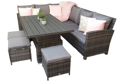 Charlotte Corner Sofa Dining Set with ADJUSTABLE Polywood Table Top in Grey - IN STOCK