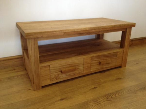 The Quercus Oak Coffee Table with Shelf and Drawers