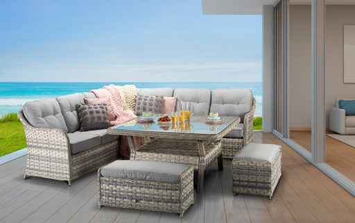 Constance Corner Sofa And Dining Set in Silver Grey - IN STOCK