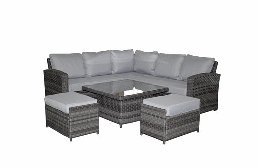 Grace Corner Sofa Set in Grey with Adjustable Table and 2 Ottomans - SOLD OUT