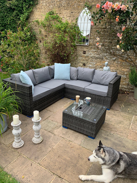 Georgia Corner Group Sofa Set with ICE BUCKET in Grey - SOLD OUT