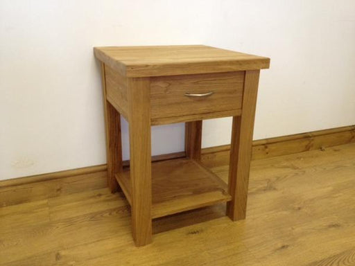 The Quercus Oak Lamp Table with Drawer