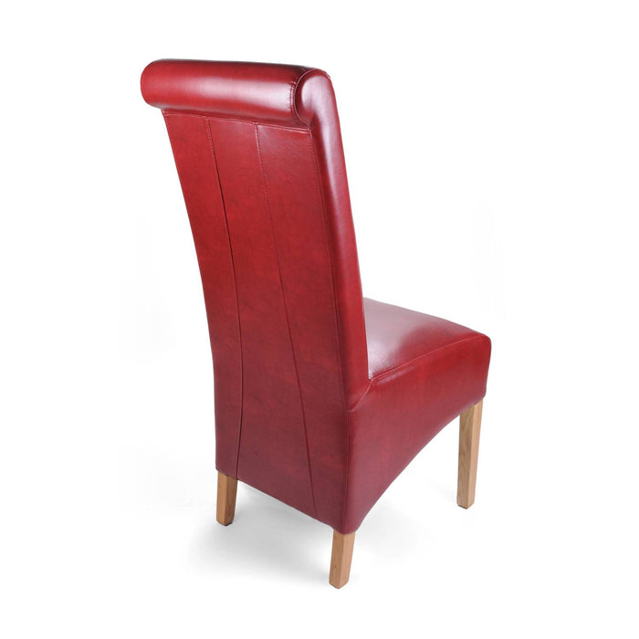The Espresso Leather Red Roll Back Dining Chair