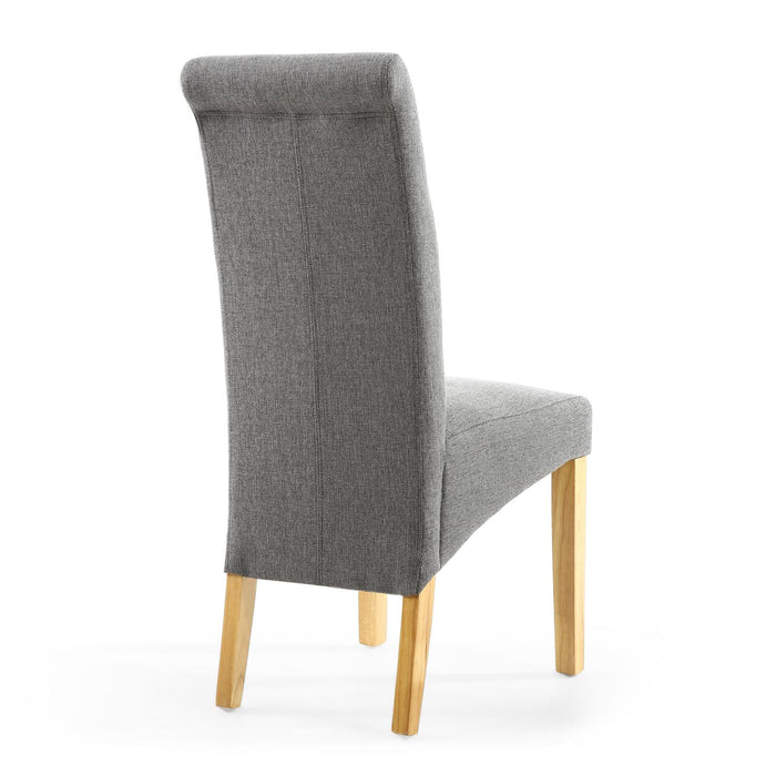 The Espresso Steel Grey ScrollBack Dining Chair