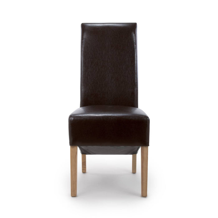 The Espresso Leather Brown Roll Back Dining Chair - IN STOCK