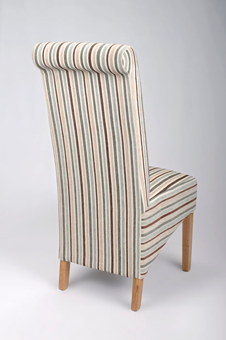 The Espresso Fabric Duck Egg Blue Stripe Roll Back Dining Chair