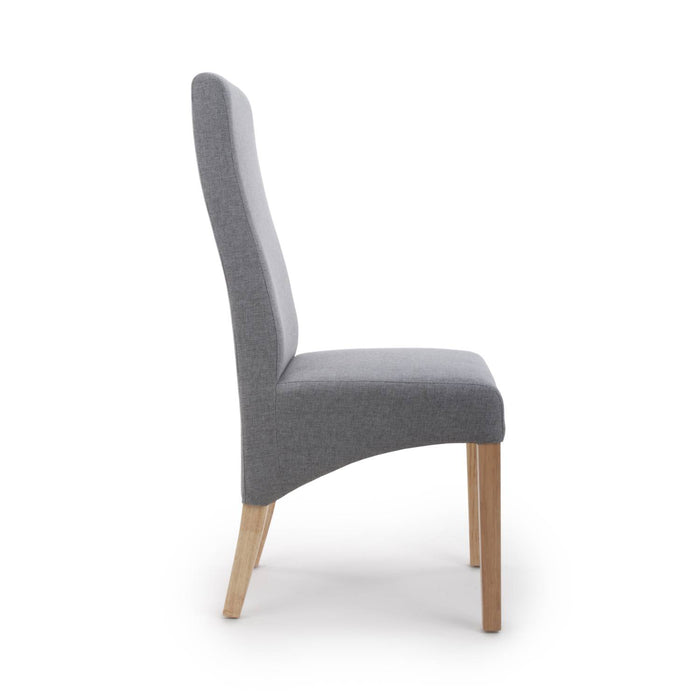 The Espresso Steel Grey Linen Dining Chair