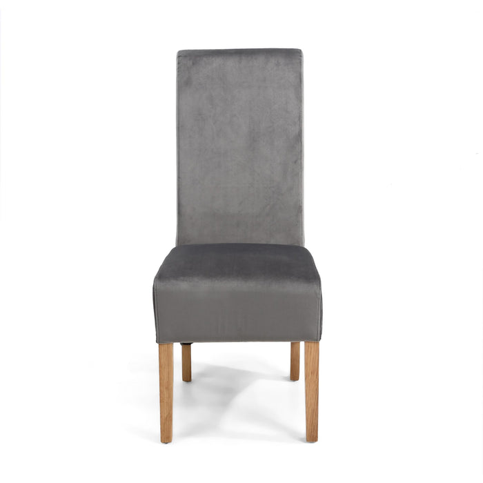 The Espresso Fabric Velvet Grey Roll Back Dining Chair - RESERVE NOW - BACK IN STOCK 8TH DEC