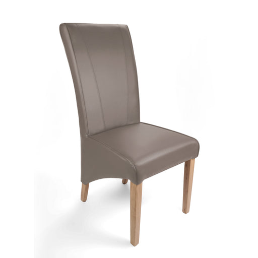 The Espresso Mushroom Matt Leather ScrollBack Dining Chair