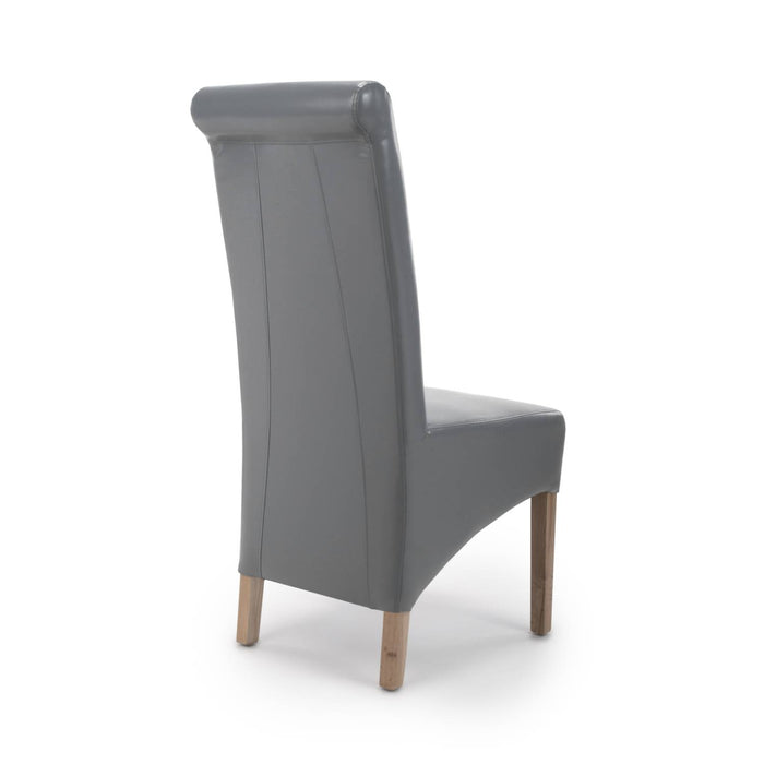 The Espresso Leather Grey Roll Back Dining Chair