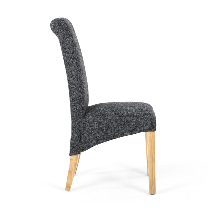 The Espresso Deep Charcoal Fleck Effect ScrollBack Dining Chair