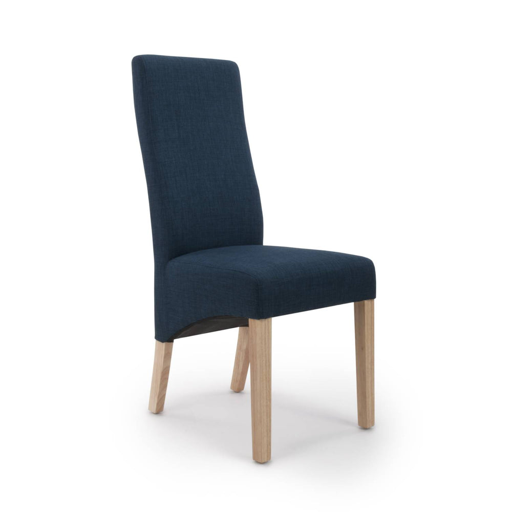 The Espresso Polo Blue Linen Dining Chair